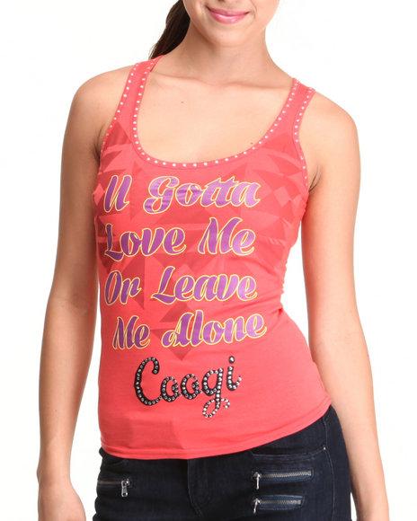 COOGI Pink U Got To Love Me Tank W/Studs