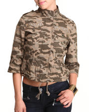 Outerwear - Camo Bling Trim Cinched Waist Jacket