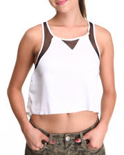 Fashion Tops - Spicy Chip Tank w/Mesh Detail
