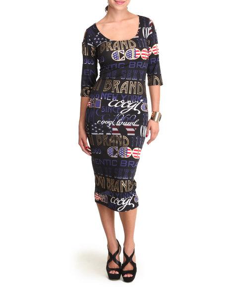 COOGI Black Cold Shoulder 3/4 Sleeve Dress W/Print