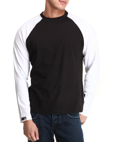 Basic Essentials - Men White Raglan Long Sleeve Top