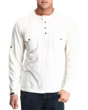 Men - Slub Pocket Henley Long Sleep Top