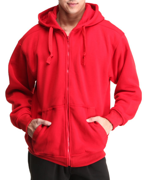 Basic Essentials - Men Red Full Zip Hoodie