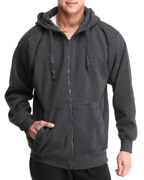 Basic Essentials - Men Charcoal Full Zip Hoodie