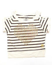 Fashion Tops - STUDDED HEART COLD SHOULDER TOP (4-6X)