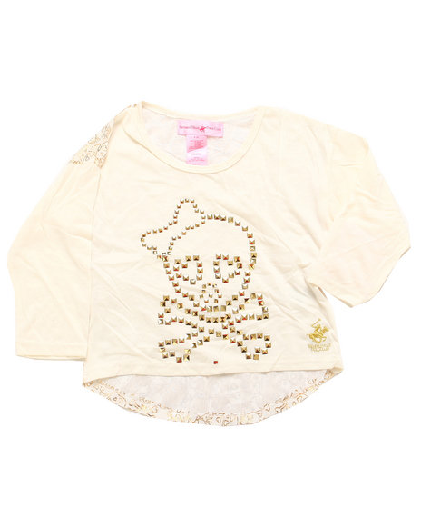 La Galleria Girls White Skull Hi Low Top (4-6X)