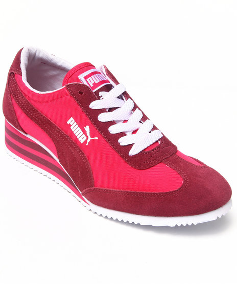Puma Pink Caroline Stripe Wedge Sneakers