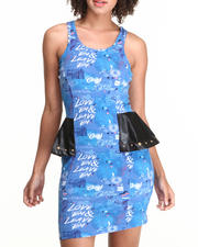 Women - Peplum Dress w/Print Vegan Leather Detail