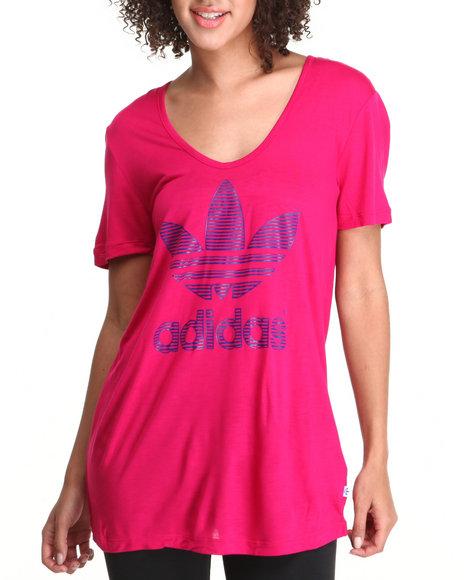 Adidas Pink Trefoil Outline Tee