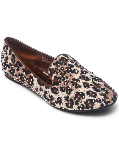 Kensie Girl - Girls Animal Print Studded Smoking Loafers