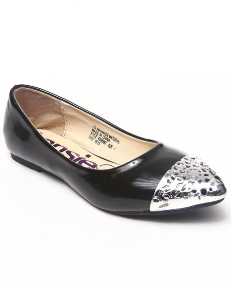 Kensie Girl - Girls Black Metal Cap Toe Flats