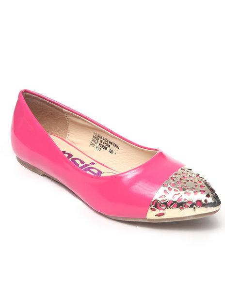 Kensie Girl Girls Pink Metal Cap Toe Flats