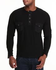 Basic Essentials - Slub Pocket Henley Long Sleeve Top