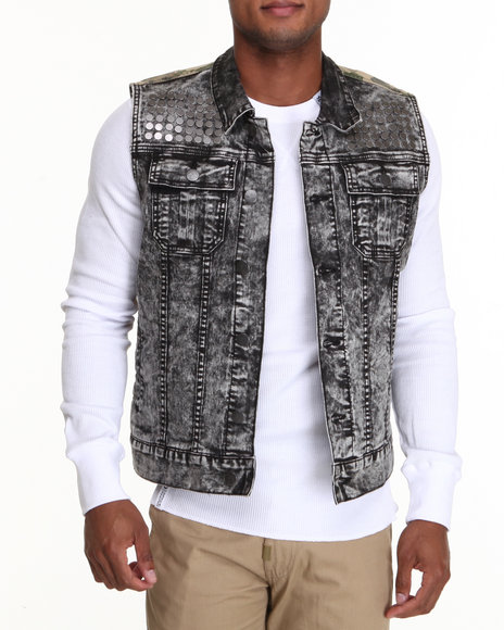 Lrg - Men Black,Camo Acidic Sleeveless Denim Vest