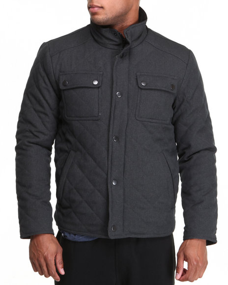 Kenneth Cole - Men Charcoal Americana Quilted Jacket
