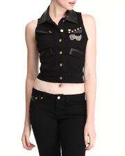 Outerwear - Denim Vest w/Stud Detail