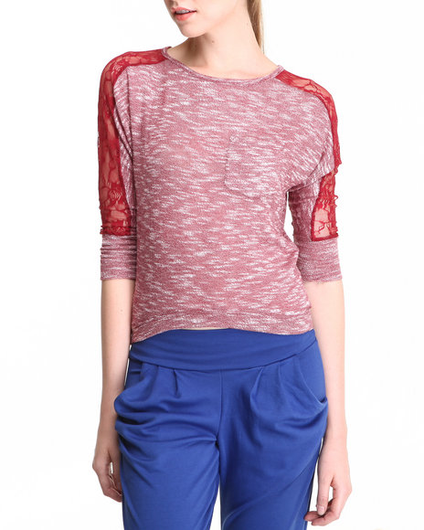 JOLT - Dolman Top w/ Lace Sleeve