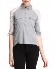 Women - L/S Button down w/ Lace Inset