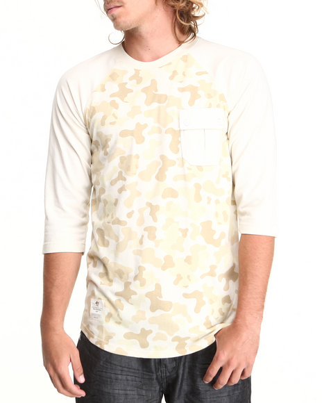 Lrg - Men White Panda Camo 3/4 Sleeve Raglan Baseball Tee - $17.99