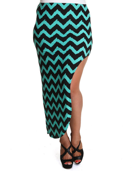 Fashion Lab - Women Black,Green Funky Chevron Skirt W/Side Split (Plus)