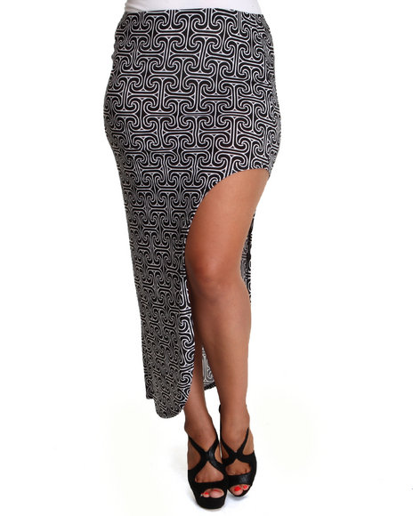 Fashion Lab - Women Black,White Funky Chevron Skirt W/Side Split (Plus)