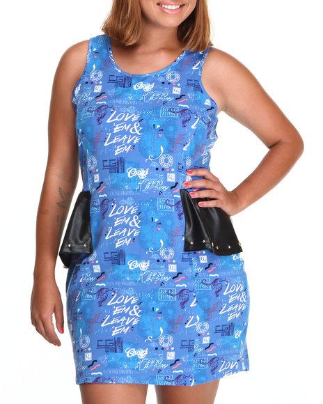 COOGI Blue Peplum Dress W/Print Vegan Leather Detail (Plus Size)