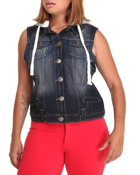 Basic Essentials Black Denim Vest W/Hood