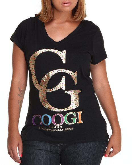 COOGI Black V-Neck Tee W/Graphic (Plus Size)
