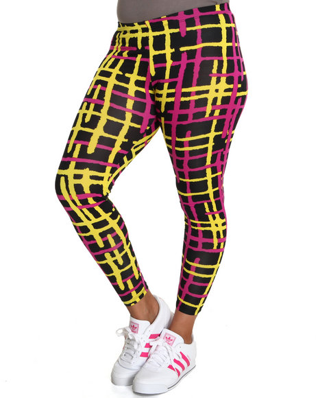 Fashion Lab Women The Grid Printed Leggings Plus Pink 1X