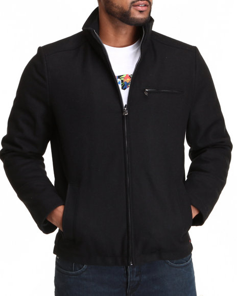 Levi's - Men Black Stand Collar Melton Wool Jacket