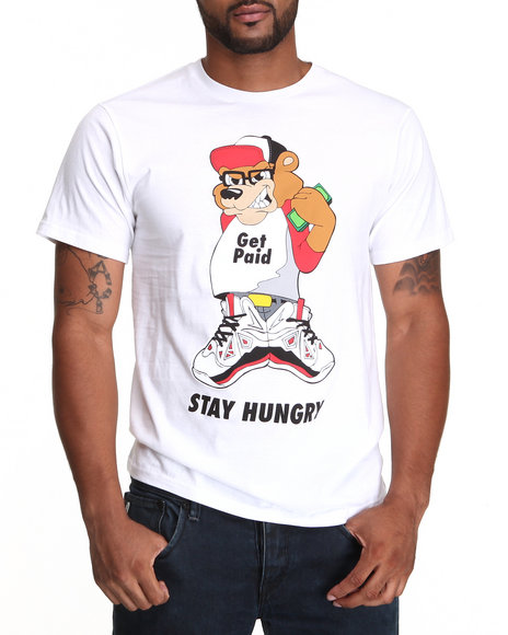 Basic Essentials - Men White Street Approved Stay Hungry Tee