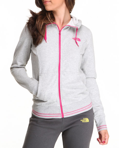 The North Face - Women Grey Logo Stretch Full Zip Hoodie