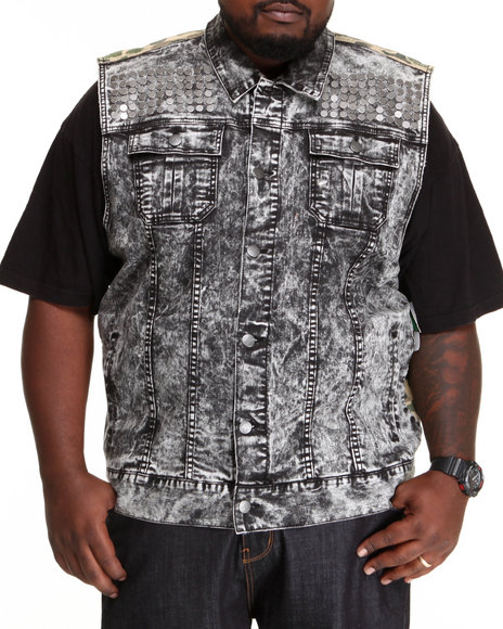 LRG - Men Black Acidic Sleeveless Denim Jacket (B & T)