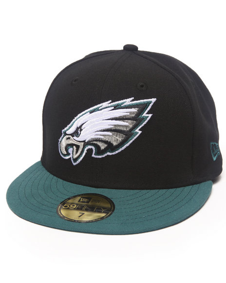 New Era - Men Black Philadelphia Eagles Nfl 2013 Black Crown Team 5950 Fitted Hat