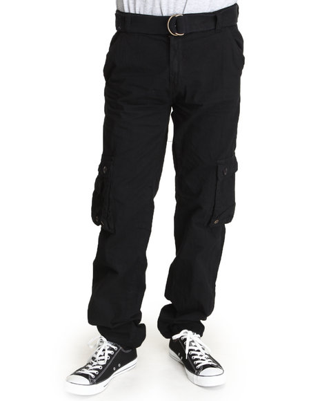 Basic Essentials - Men Black Cargo Pants With Belt