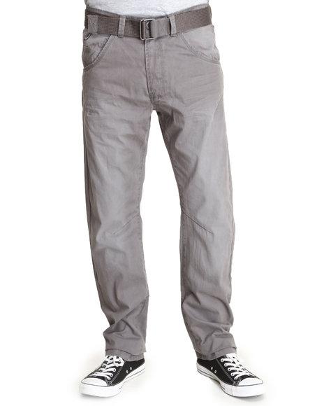 Basic Essentials - Men Charcoal Premium Wash Pants With Belt