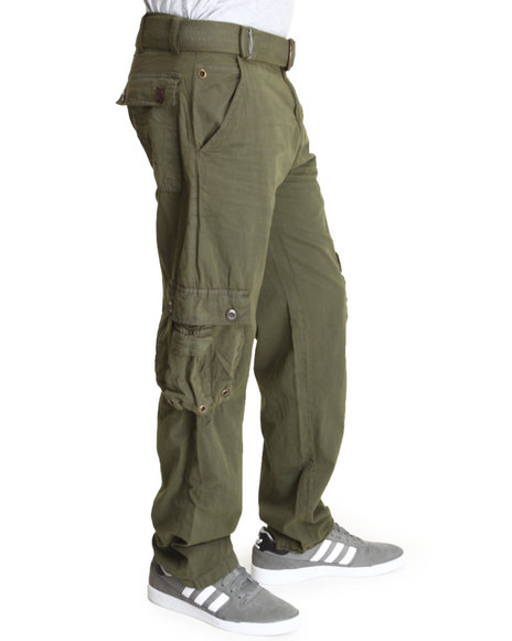 Basic Essentials - Men Olive Cargo Pants With Belt