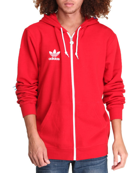 Adidas Men Adidas Full Zip Hoodie Red XLarge