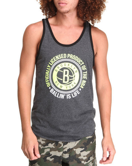 NBA, MLB, NFL Gear - Brooklyn Nets Old School Neon Tank Top (Drjays.com Exclusive)