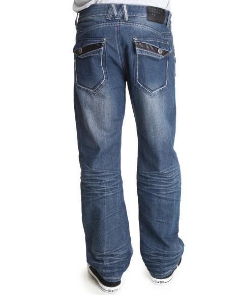 MO7 Medium Wash Mo7 Flap Detail Back Pocket Denim Jeans