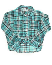 Polos & Button-Downs - PLAID CHIFFON TOP (7-16)