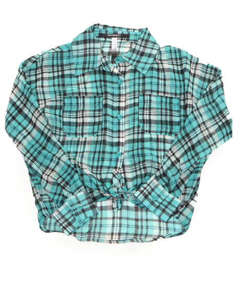 Kensie Girl - Girls Teal Plaid Chiffon Top (7-16)