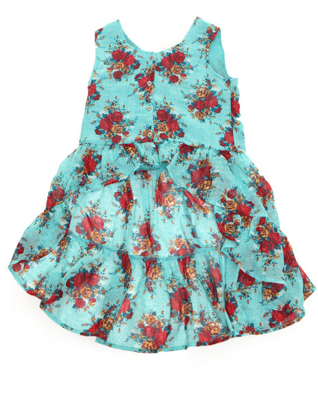 Kensie Girl Girls Teal Floral Printed Chiffon Top