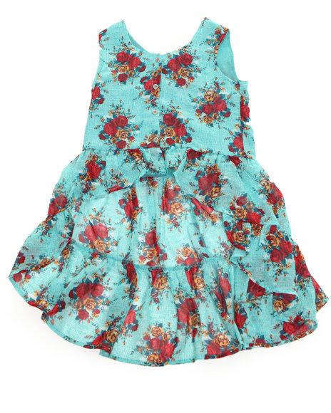 Kensie Girl Girls Teal Floral Printed Chiffon Top