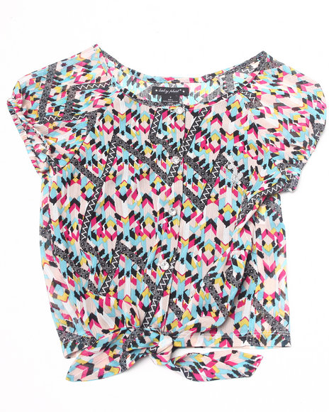 Baby Phat - Girls Pink Printed Tie Front Top (7-16)