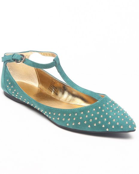 Rampage - Women Teal Studded Pointed Toe Flat