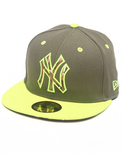 New Era - Men Lime Green, Grey New York Yankees Real Fill 5950 Fitted Hat
