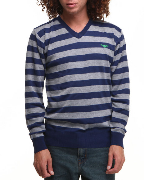 Buyers Picks - Men Navy Striped Vneck Sweater