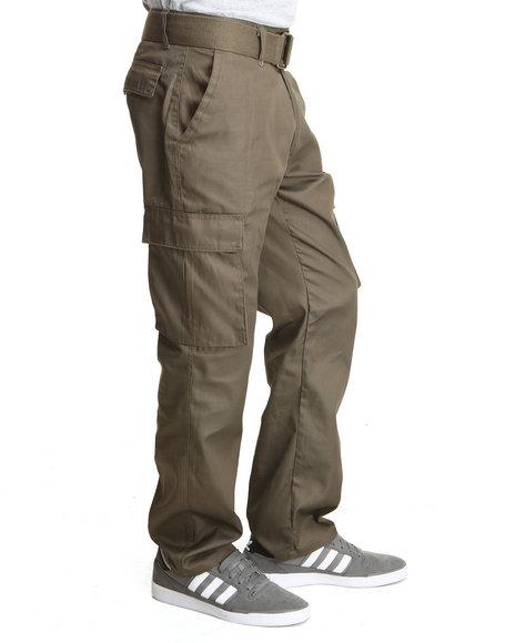 Basic Essentials - Men Olive Cargo Pocket Pants With Belt