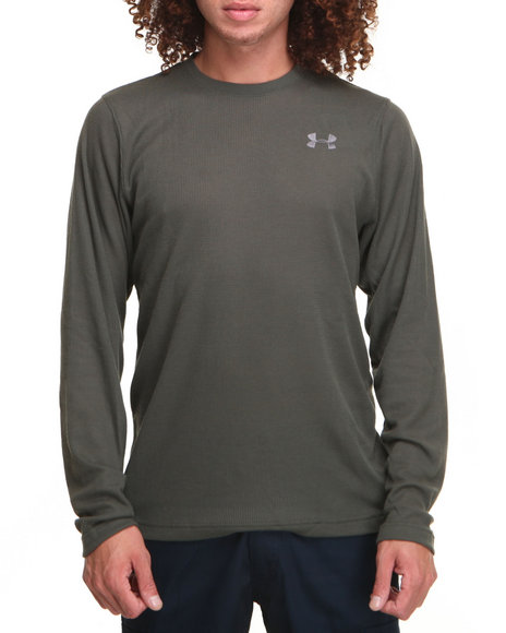 Under Armour - Men Green Waffle Crewneck L/S Shirt